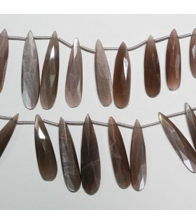 Brown Moonstone Graduated Faceted Drop Beads 21x7-35x8mm.Approx.-Strand 20cm.-Item.11021
