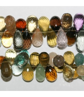 Multi Stone Faceted Drop Beads 14x10mm.Approx.-Strand 20cm.-Item.11036