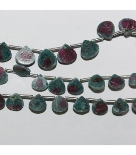 Ruby Fuchsite Smooth Flat Drop Beads 6mm.-Strand 26cm.-Item.11056