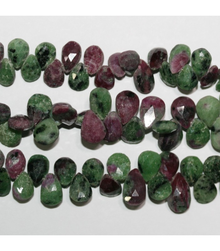 Ruby Zoisite Faceted Drop Beads 11x7mm.Approx.-Strand 20cm.-Item.11061