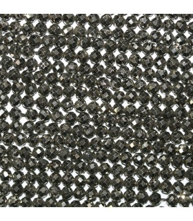 Natural Pyrite Faceted Round Beads 4mm.-Strand 40cm.-Item.11138
