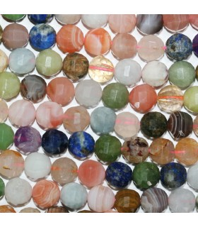 Multi Stone Faceted Round Beads 9-10mm.Approx.-Strand 39cm.-Item.11153