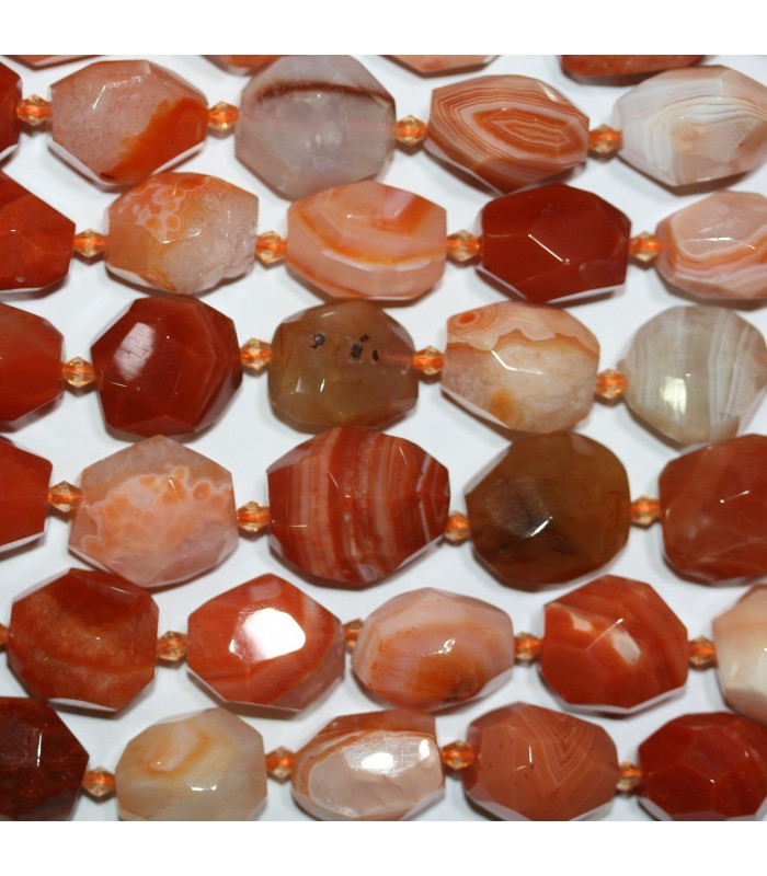 Orange Botswana Agate Faceted Nugget Beads 20x15mm.aprox.-Strand.39cm.-Item.11195