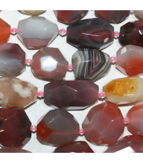 Orange Botswana Agate Faceted Nugget Beads 24x20mm.Aprox.-Strand.38cm.-Item.11204