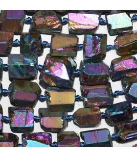 Cuarzo Multicolor Nugget Sin Pulir En Degrade 11x8-15x10mm.Aprox.-Hilo 49cm.-Ref.11231