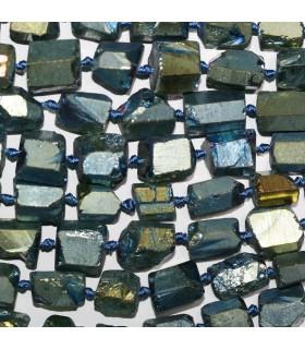 Cuarzo Azul Dorado Nugget Sin Pulir En Degrade 11x8-15x10mm.Aprox.-Hilo 49cm.-Ref.11232