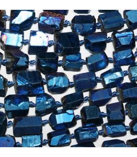 Blue Quartz Graduated Unpolish Nugget 11x8-15x10mm.Approx.-Strand 49cm.-Item.11233