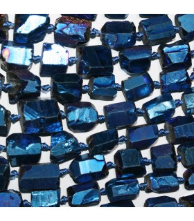 Cuarzo Azul Nugget Sin Pulir En Degrade 11x8-15x10mm.Aprox.-Hilo 49cm.-Ref.11233