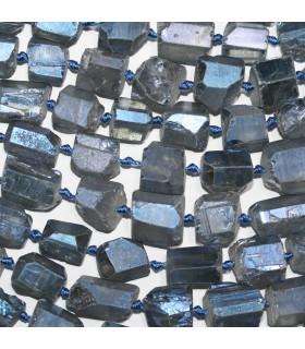Cuarzo Gris Azulado Nugget Sin Pulir En Degrade 11x8-15x10mm.Aprox.-Hilo 49cm.-Ref.11234