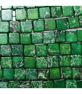 Green Jasper Smooth Cube 10mm. Strand 40 cm.-Ref: 11239