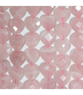 Rose Quartz Faceted Heart 18mm.-Hilo 39cm.-Item.11257