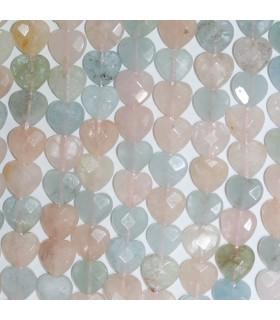 Multi Beryl Faceted Heart Beads 10mm.-Strand 39cm.-Item.11259