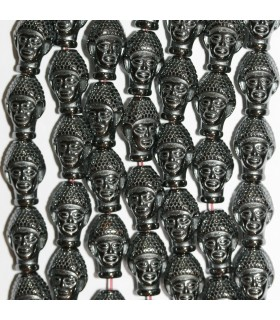 Hematite Carved Buddha Head Beads 14x9mm.-Strand 40cm.-Item.11267