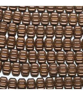 Brown Hematite Matte Finish Carved Rondelle Beads 8x5mm.-Strand 40cm.-Item.11271