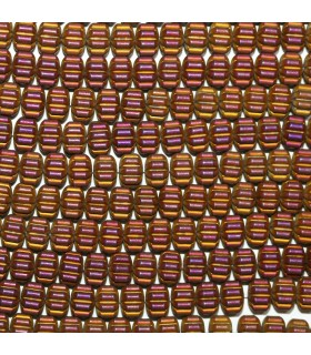 Multicolor Hematite Matte Finish Carved Rondelle Beads 8x5mm.-Strand 40cm.-Item.11272