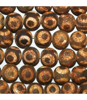 Brown Agate Matte Finish Round Beads 16mm.-Strand 39cm.-Item.11277