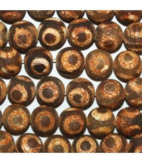 Brown Agate Matte Finish Round Beads 16mm.-Strand 39cm.-Item.11277