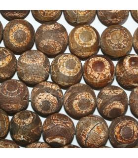 Brown Agate Matte Finish Round Beads 17mm.-Strand 39cm.-Item.11278