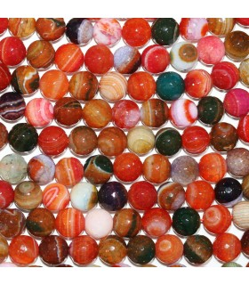 Multicolor Agate Faceted Round Beads 10mm. Strand 40cm.- Item: 11280
