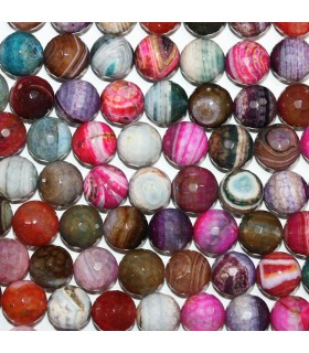 Multicolor Agate Faceted Round Beads 14mm. Strand 38cm.-Item.11281