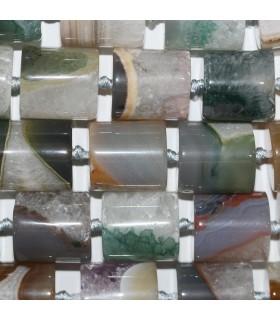 Multicolor Agate Smooth Barrel 21x19mm.-Strand 40cm.-Item.11287