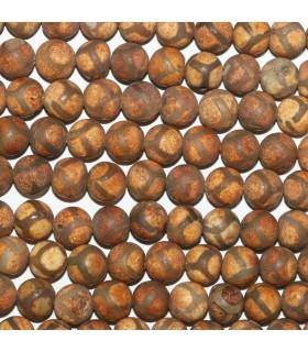 Brown Agate Matte Finish Round Beads 8mm.-Strand 38cm.-Item.11298