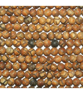 Brown Agate Matte Finish Round Beads 6mm.-Strand 38cm.-Item.11299