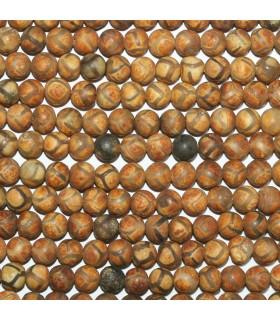Brown Agate Matte Finish Round Beads 6mm.-Strand 38cm.-Item.11299