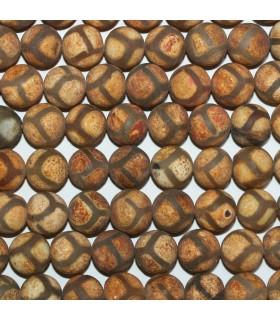 Brown Agate Matte Finish Round Beads 10mm.-Strand 38cm.-Item.11300