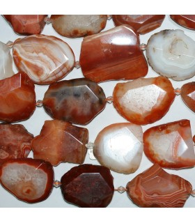 Orange Botwana Agate Faceted Irregular Oval Beads 43x32.mm-Aprox. Strand 40cm.- Ref: 11312