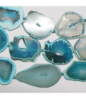 Agata Azul Oval Irregular Plana 53x40mm,.Aprox. Hilo 40cm.- Ref: 11318