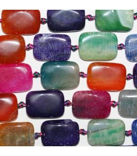 Multicolor Agate Smooth Rectangular Beads 25x18mm.-Strand 40cm.-Item.11354