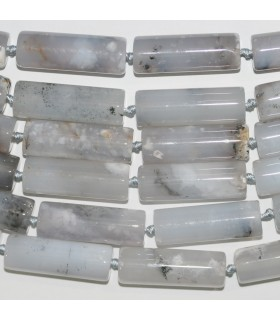 Gray Agate Smooth Tube Beads 40x14mm.-Strand 39cm.-Item.11359