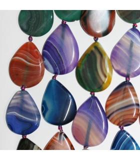 Multicolor Agate Smooth Flat Drop 40x30mm. Hilo 39cm.-Item:11361
