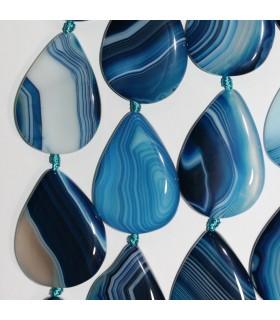 Blue Agate Smooth Flat Drop Beads 40x30mm. Hilo 39cm.-Item:11362