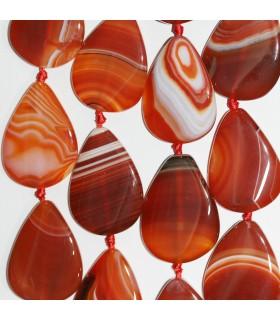 Orange Agate Smooth Flat Drop Beads 40x30mm. Hilo 39cm.-Item:11364