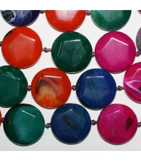 Multicolor Agate Faceted Coin Beads 35mm.-Strand 40cm.-Item.11373