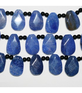 Blue Agate Faceted Drop Beads 30x20mm.-Strand 40cm.-Item.11376
