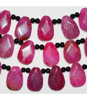 Fuchsia Agate Faceted Drop Beads 30x20mm.-Strand 40cm.-Item.11377