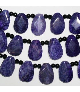 Purple Agate Faceted Drop Beads 30x20mm.-Strand 40cm.-Item.11379