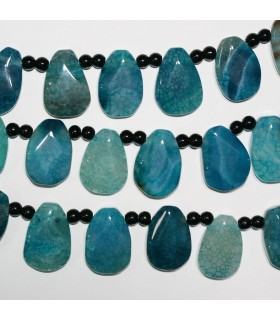 Blue Agate Faceted Drop Beads 30x20mm.-Strand 40cm.-Item.11380
