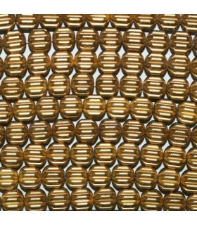 Gold Hematite Carved Rondelle Beads 8x5mm.-Strand 40cm.-Item.11429