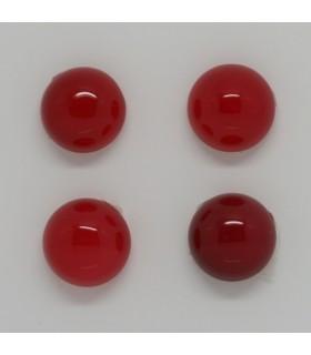 Cabujon Calcedonia Roja Redondo 12 mm (4 piezas).- Ref: 1246CB
