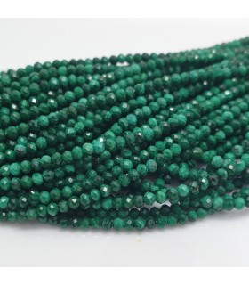 Malaquite Faceted Round Beads 2mm.Strand 40cm.-Item.11487