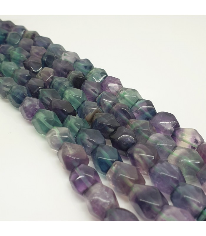 Fluorite Faceted Cube 11x9mm.-Strand 40cm.-Item.11490