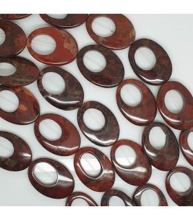 Red Jasper Smooth Oval 35x25mm.-Strand 38cm.-Item.11505