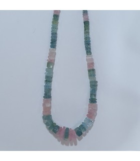 Multi Beryl Graduated Faceted Rondelle Necklace 6x2-14x7mm.-Item.11544