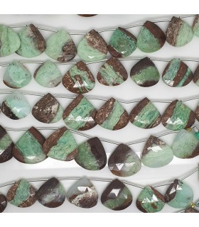Chrysoprase Facaeted Drop Degrade 20-25mm. Strand 20 cm.- Item: 11561