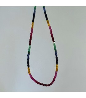 Multi Sapphire Faceted Rondelle Necklace 5x2.5mm.-Item.11574