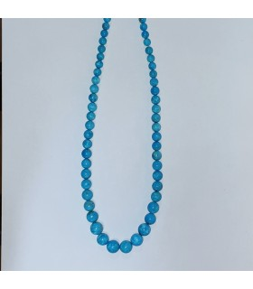 Turquoise Smooth Graduated Round Necklace 5-10mm.-Item.11576